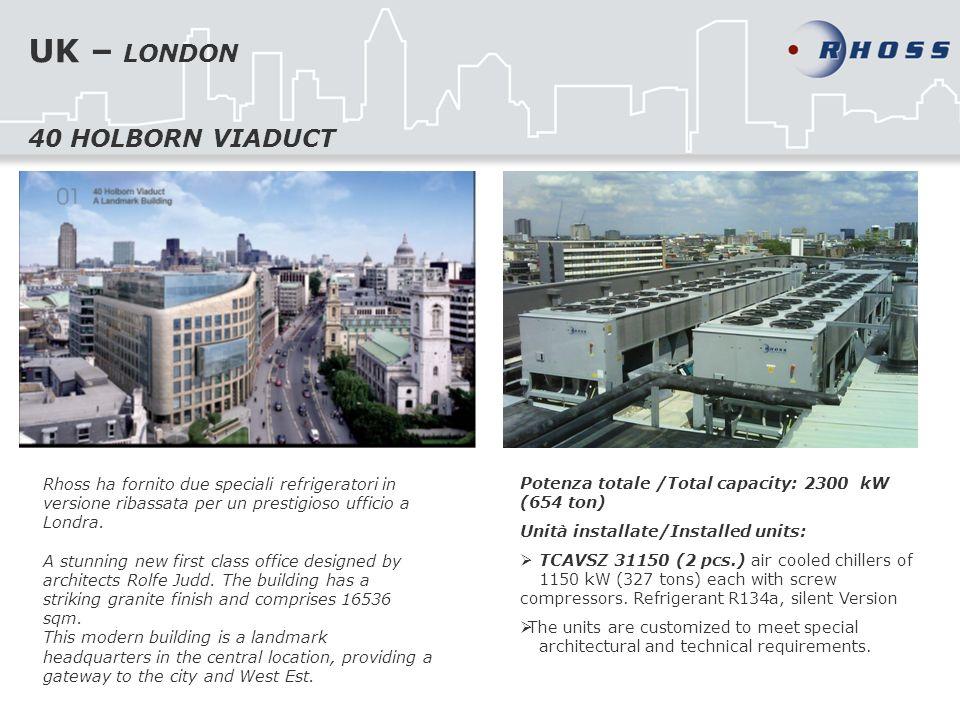 UK – LONDON Rhoss ha fornito due speciali refrigeratori in versione ribassata per un prestigioso ufficio a Londra.