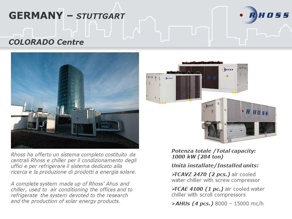 GERMANY – STUTTGART Rhoss ha offerto un sistema completo costituito da centrali Rhoss e chiller per il condizionamento degli uffici e per refrigerare il sistema dedicato alla ricerca e la produzione di prodotti a energia solare.