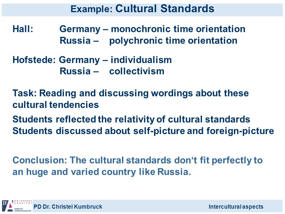 PD Dr. Christel KumbruckIntercultural aspects Example: Cultural Standards Hall: Germany – monochronic time orientation Russia – polychronic time orien