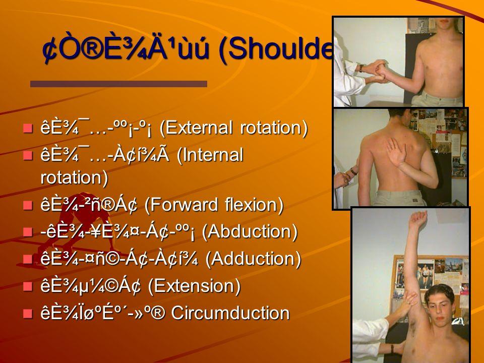 ¢Ò®È¾Ä¹ùú (Shoulder) êȾ¯…-ºº¡-º¡ (External rotation) êȾ¯…-ºº¡-º¡ (External rotation) êȾ¯…-À¢í¾Ã (Internal rotation) êȾ¯…-À¢í¾Ã (Internal rotation) êȾ-²ñ®Á¢ (Forward flexion) êȾ-²ñ®Á¢ (Forward flexion) -êȾ-¥È¾¤-Á¢-ºº¡ (Abduction) -êȾ-¥È¾¤-Á¢-ºº¡ (Abduction) êȾ-¤ñ©-Á¢-À¢í¾ (Adduction) êȾ-¤ñ©-Á¢-À¢í¾ (Adduction) êȾµ¼©Á¢ (Extension) êȾµ¼©Á¢ (Extension) êȾÏøºÉº´-»º® Circumduction êȾÏøºÉº´-»º® Circumduction