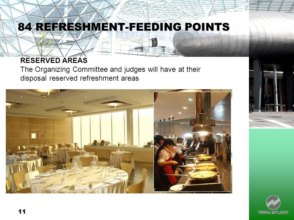11 84 REFRESHMENT-FEEDING POINTS RESERVED AREAS The Organizing Committee and judges will have at their disposal reserved refreshment areas
