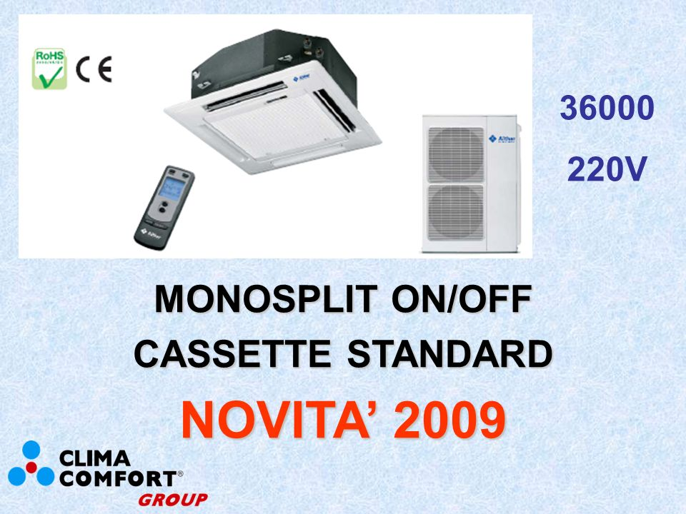 MONOSPLIT ON/OFF CASSETTE MINI NOVITA 2009 12000 18000