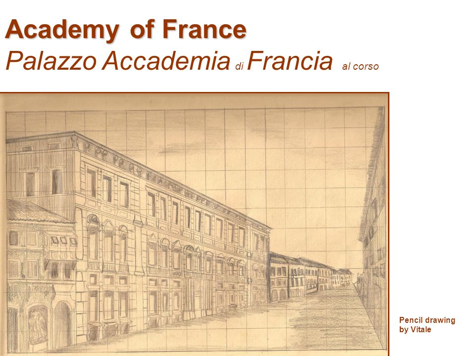 Academy of France Palazzo Accademia di Francia al corso Pencil drawing by Vitale