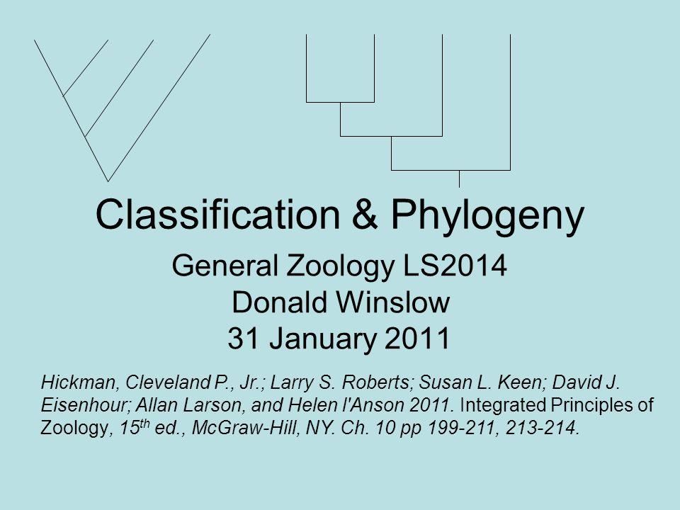 Classification & Phylogeny General Zoology LS2014 Donald Winslow 31 January 2011 Hickman, Cleveland P., Jr.; Larry S. Roberts; Susan L. Keen; David J.
