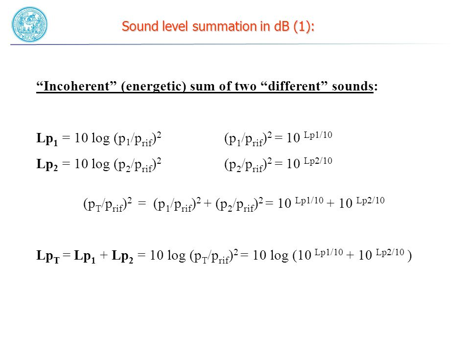 Sound level summation in dB (2): incoherent sum of two levels Example 1: L 1 = 80 dB L 2 = 85 dB L T = .