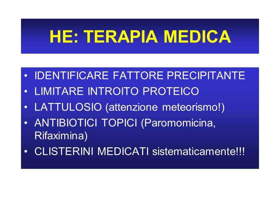 HE: TERAPIA MEDICA IDENTIFICARE FATTORE PRECIPITANTE LIMITARE INTROITO PROTEICO LATTULOSIO (attenzione meteorismo!) ANTIBIOTICI TOPICI (Paromomicina, Rifaximina) CLISTERINI MEDICATI sistematicamente!!!