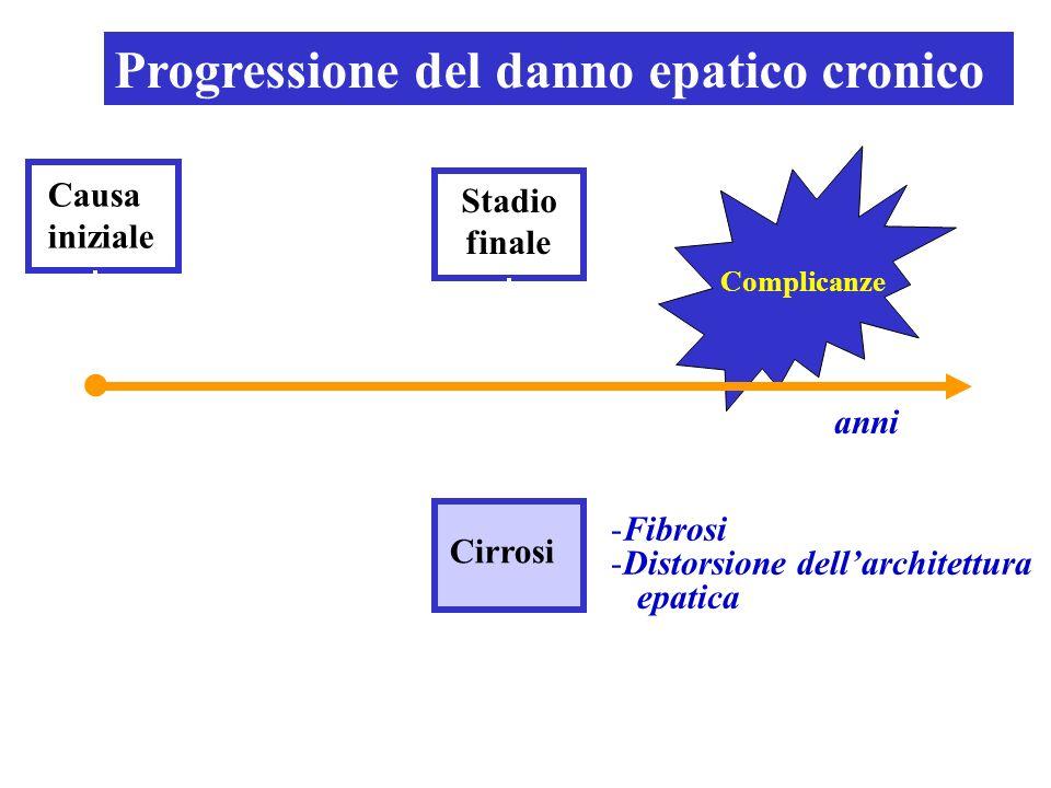 Causa iniziale Stadio finale Complicanze anni Cirrosi -Fibrosi -Distorsione dellarchitettura epatica Progressione del danno epatico cronico
