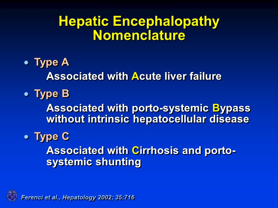 Hepatic Encephalopathy Nomenclature Type A Associated with Acute liver failure Type B Associated with porto-systemic Bypass without intrinsic hepatoce