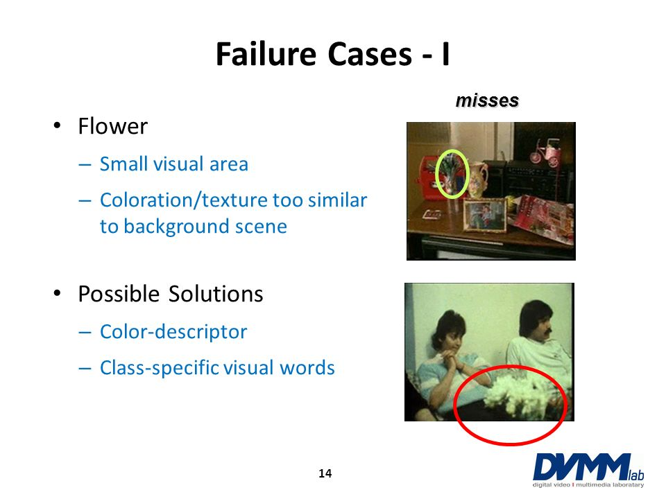 Failure Cases - I 14 Flower – Small visual area – Coloration/texture too similar to background scene Possible Solutions – Color-descriptor – Class-spe