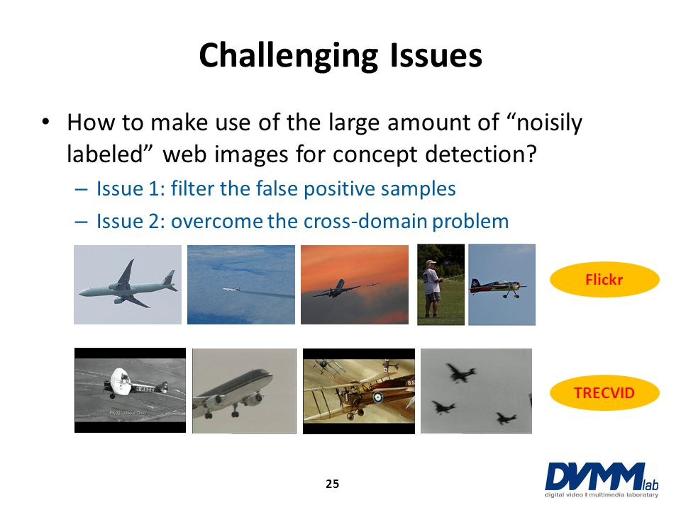 Challenging Issues How to make use of the large amount of noisily labeled web images for concept detection? – Issue 1: filter the false positive sampl