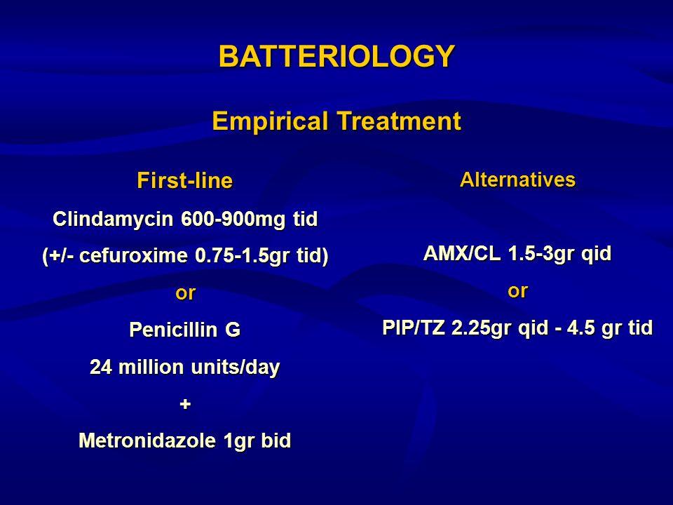 BATTERIOLOGY First-line Clindamycin 600-900mg tid (+/- cefuroxime 0.75-1.5gr tid) or Penicillin G 24 million units/day + Metronidazole 1gr bid Alterna