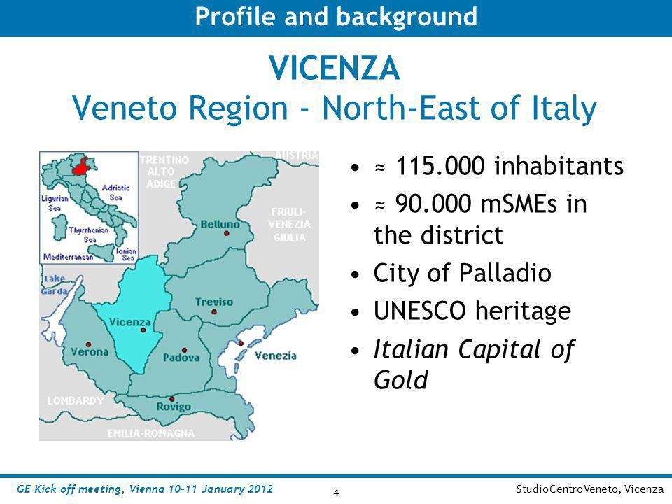 4 StudioCentroVeneto, Vicenza 4 VICENZA Veneto Region - North-East of Italy 115.000 inhabitants 90.000 mSMEs in the district City of Palladio UNESCO h