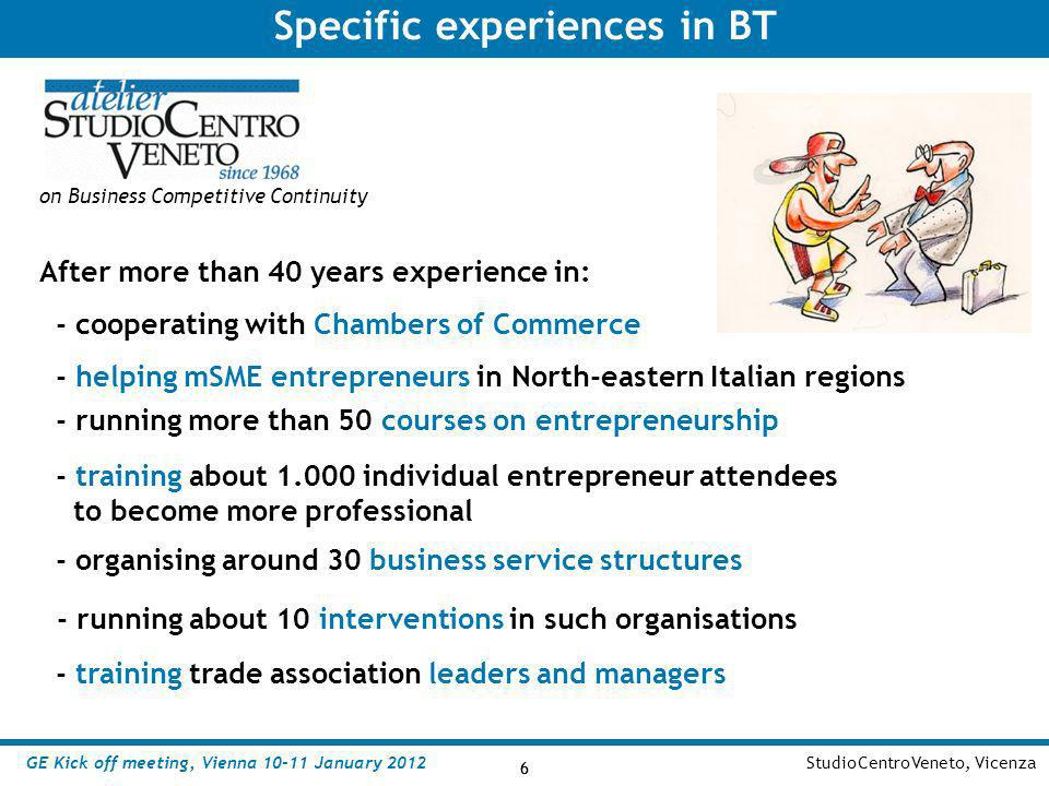 6 StudioCentroVeneto, Vicenza 6 on Business Competitive Continuity Specific experiences in BT - helping mSME entrepreneurs in North-eastern Italian re