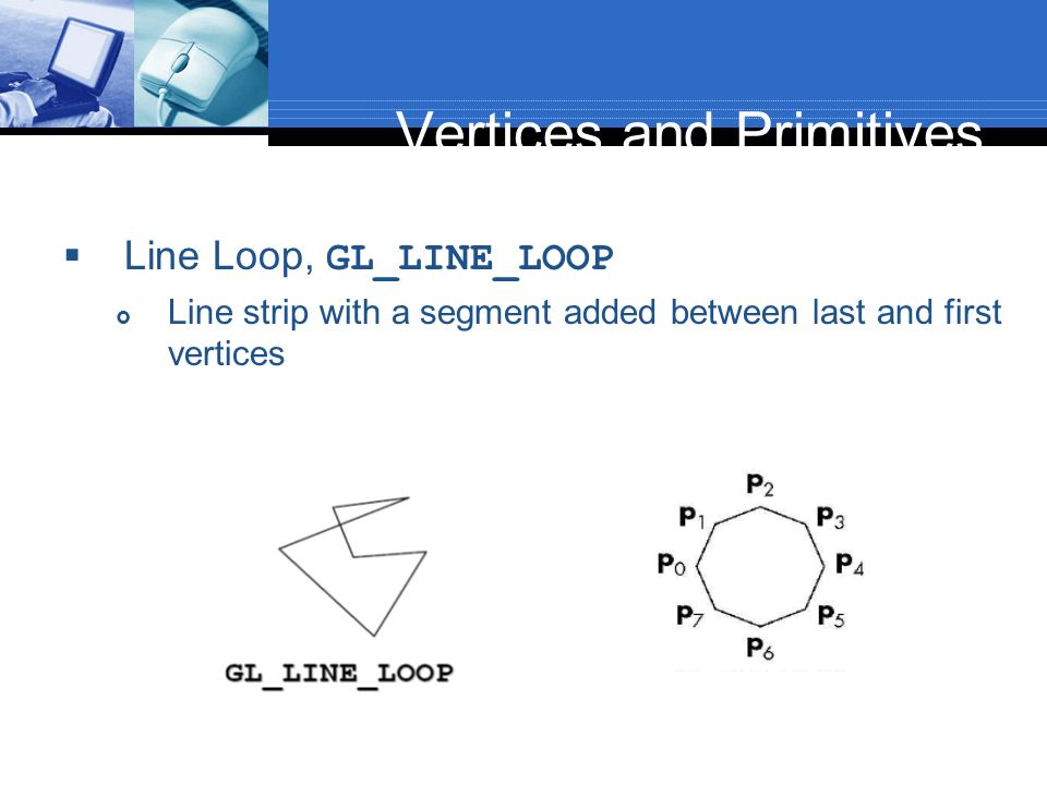Vertices and Primitives Line Loop, GL_LINE_LOOP Line strip with a segment added between last and first vertices
