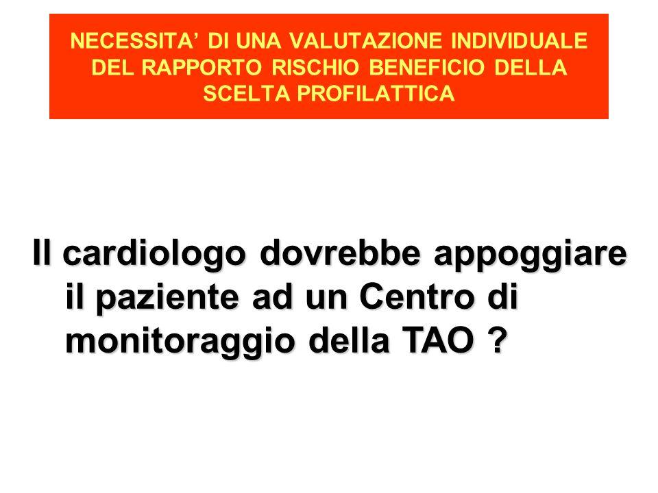 NECESSITA DI UNA VALUTAZIONE INDIVIDUALE DEL RAPPORTO RISCHIO BENEFICIO DELLA SCELTA PROFILATTICA Il cardiologo dovrebbe appoggiare il paziente ad un