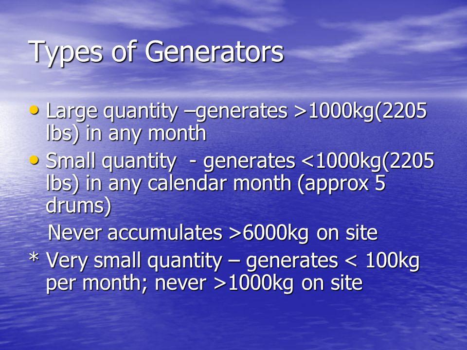 Types of Generators Large quantity –generates >1000kg(2205 lbs) in any month Large quantity –generates >1000kg(2205 lbs) in any month Small quantity -