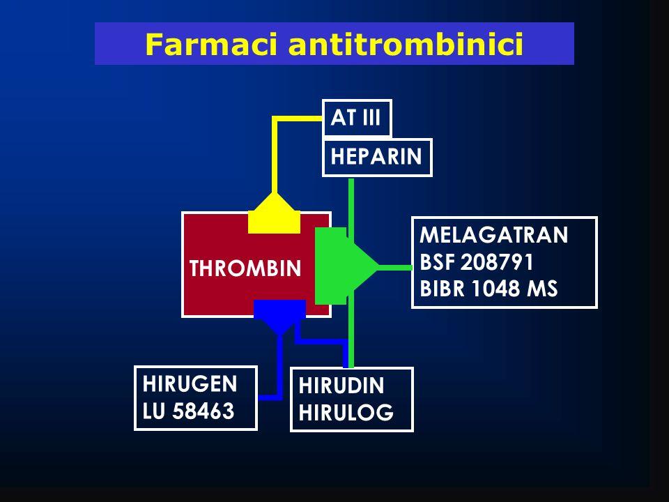 THROMBIN MELAGATRAN BSF 208791 BIBR 1048 MS HIRUGEN LU 58463 AT III Farmaci antitrombinici HIRUDIN HIRULOG HEPARIN
