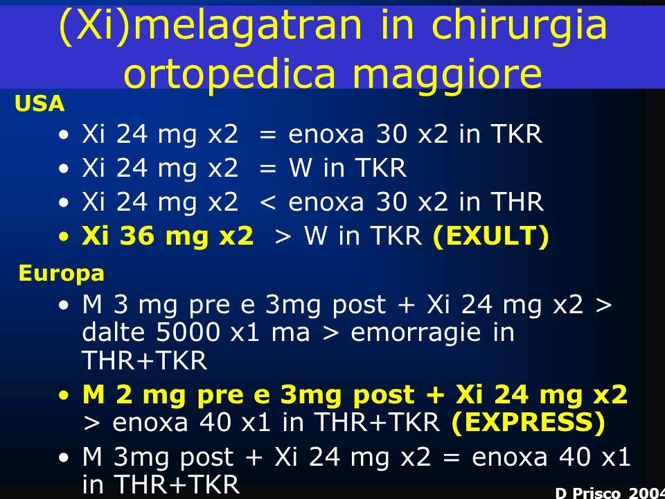 (Xi)melagatran in chirurgia ortopedica maggiore Xi 24 mg x2 = enoxa 30 x2 in TKR Xi 24 mg x2 = W in TKR Xi 24 mg x2 < enoxa 30 x2 in THR Xi 36 mg x2 >