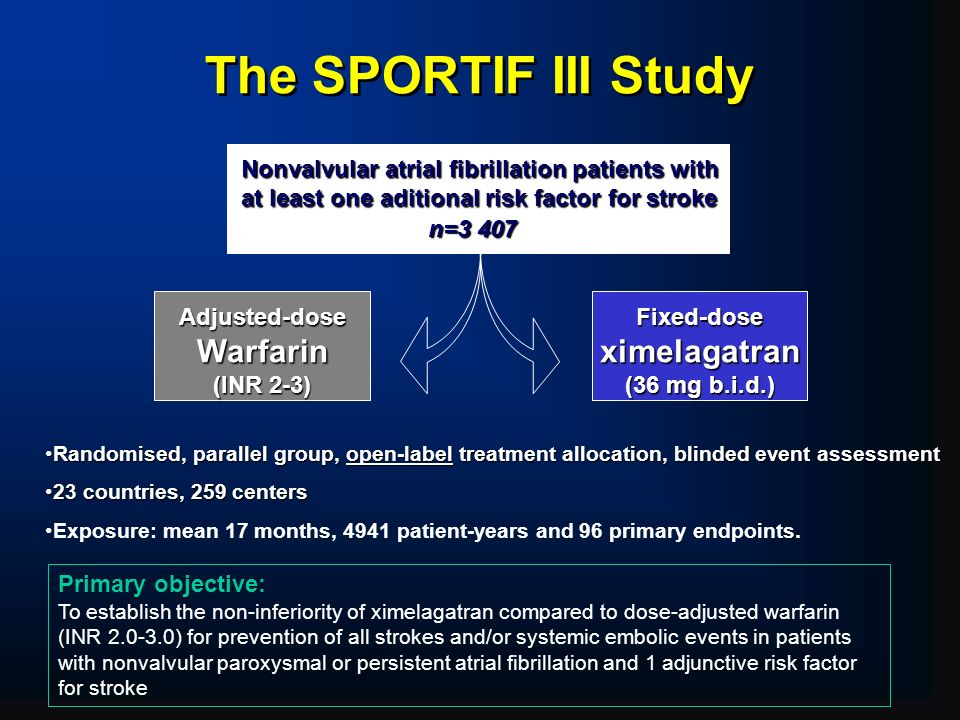 The SPORTIF III Study Randomised, parallel group, open-label treatment allocation, blinded event assessmentRandomised, parallel group, open-label treatment allocation, blinded event assessment 23 countries, 259 centers23 countries, 259 centers Exposure: mean 17 months, 4941 patient-years and 96 primary endpoints.