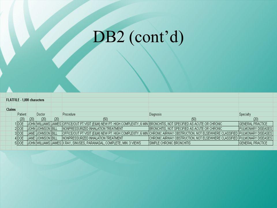DB2 (contd)