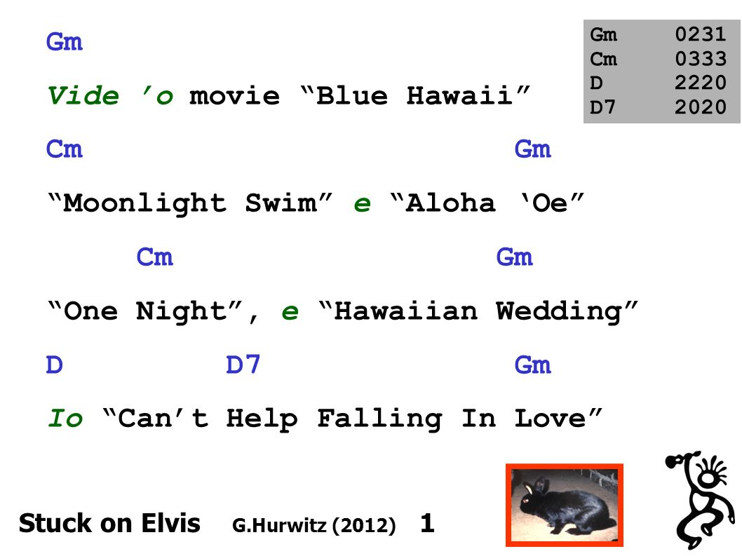 Gm Vide o movie Blue Hawaii Cm Gm Moonlight Swim e Aloha Oe Cm Gm One Night, e Hawaiian Wedding D D7 Gm Io Cant Help Falling In Love Gm0231 Cm0333 D2220 D7 2020 Stuck on Elvis G.Hurwitz (2012) 1