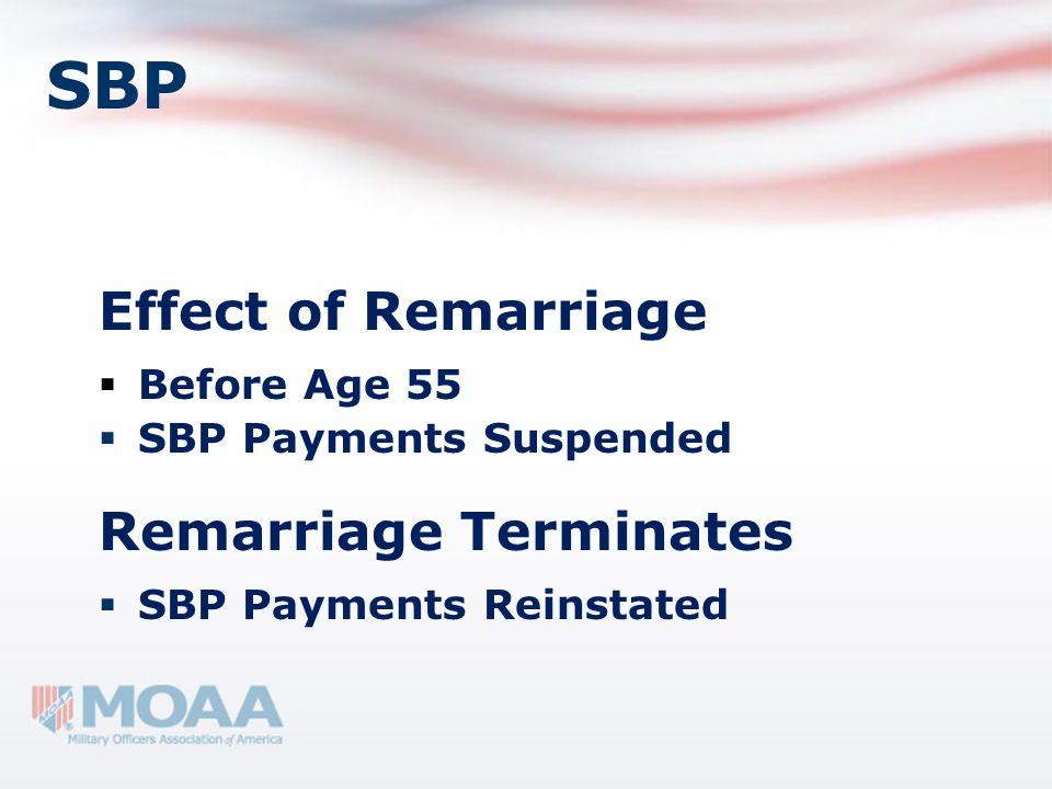 SBP Effect of Remarriage Before Age 55 SBP Payments Suspended Remarriage Terminates SBP Payments Reinstated