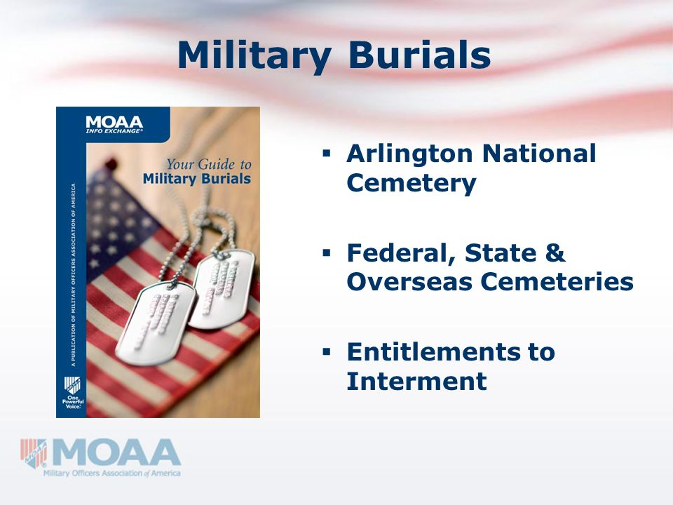 Military Burials Arlington National Cemetery Federal, State & Overseas Cemeteries Entitlements to Interment