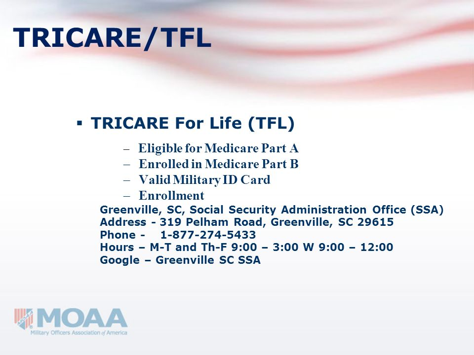 Tricare For Life Tricare is a Medicare Supplement Tricare invisible to health care community Just find a Medicare doctor No need to mention Tricare Additional coverage adds complexities Probably over insured May need to show Military ID Card