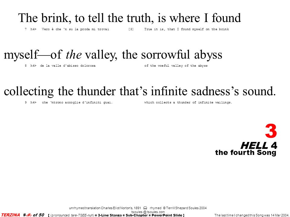 HELL 4 24 unrhymed translation Charles Eliot Norton s, 1891 rhymed © Terrill Shepard Soules 2004 tsoules @ tsoules.com the fourth Song TERZINA #24 of 50 [ (pronounced tare-TSEE-nuh) = 3-Line Stanza = Sub-Chapter = PowerPoint Slide ] The last time I changed this Song was 14 Mar 2004.