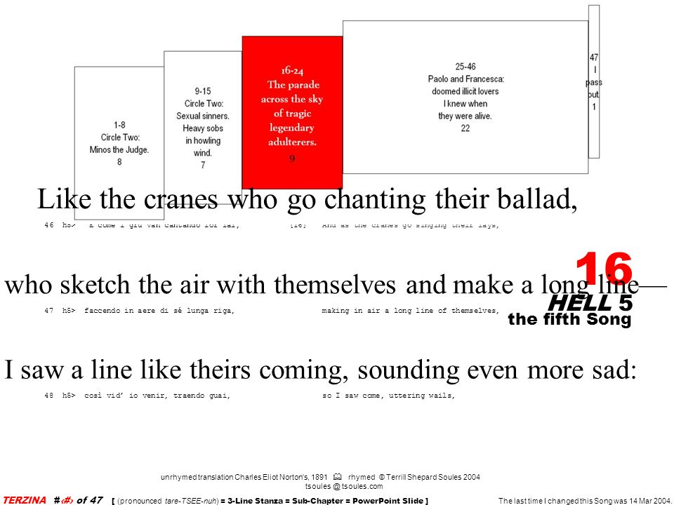 HELL 5 16 unrhymed translation Charles Eliot Norton s, 1891 rhymed © Terrill Shepard Soules 2004 tsoules @ tsoules.com the fifth Song TERZINA #16 of 47 [ (pronounced tare-TSEE-nuh) = 3-Line Stanza = Sub-Chapter = PowerPoint Slide ] The last time I changed this Song was 14 Mar 2004.