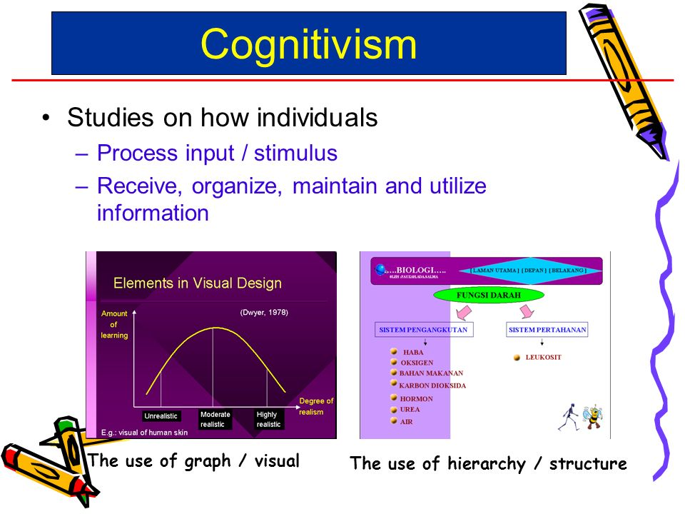 Studies on how individuals –Process input / stimulus –Receive, organize, maintain and utilize information Cognitivism The use of hierarchy / structure