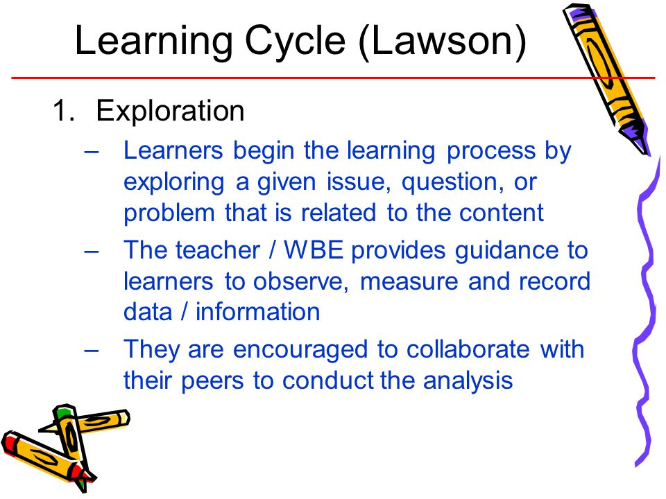Learning Cycle (Lawson) 1.Exploration –Learners begin the learning process by exploring a given issue, question, or problem that is related to the con