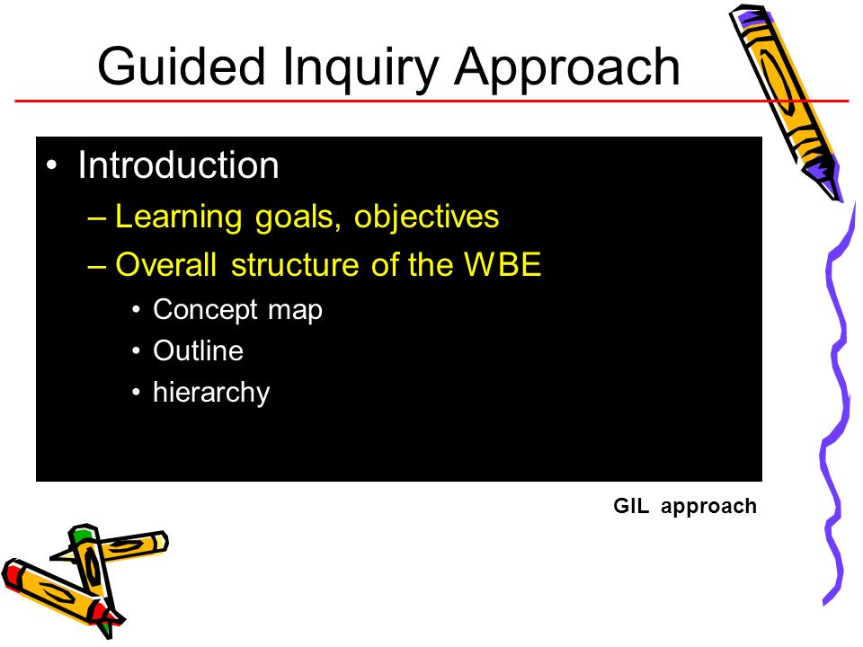 Guided Inquiry Approach Introduction –Learning goals, objectives –Overall structure of the WBE Concept map Outline hierarchy GIL approach