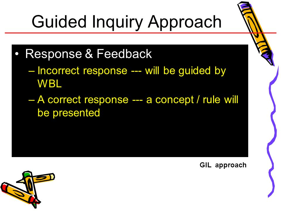 Guided Inquiry Approach Response & Feedback –Incorrect response --- will be guided by WBL –A correct response --- a concept / rule will be presented G