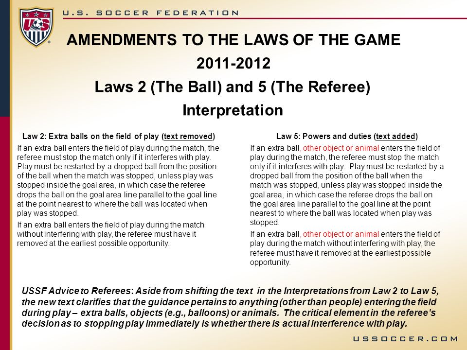 AMENDMENTS TO THE LAWS OF THE GAME 2011-2012 Laws 2 (The Ball) and 5 (The Referee) Interpretation Law 2: Extra balls on the field of play (text remove