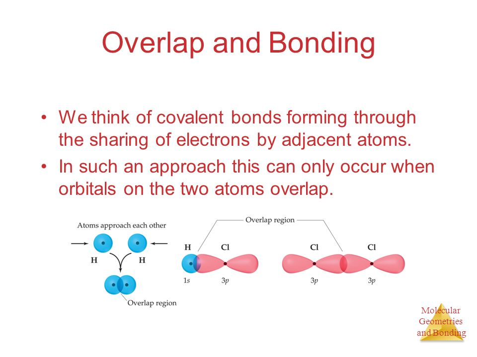Molecular Geometries and Bonding Overlap and Bonding We think of covalent bonds forming through the sharing of electrons by adjacent atoms.