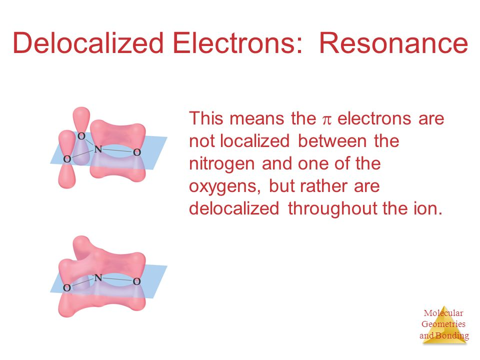Molecular Geometries and Bonding Delocalized Electrons: Resonance This means the electrons are not localized between the nitrogen and one of the oxygens, but rather are delocalized throughout the ion.