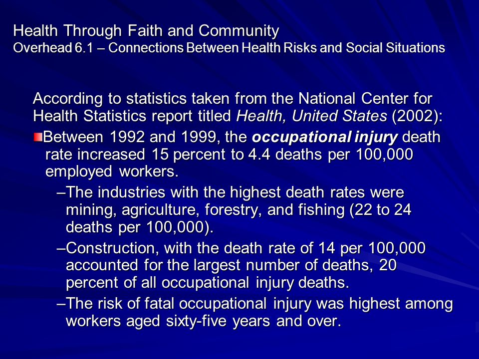 Health Through Faith and Community Overhead 6.1 – Connections Between Health Risks and Social Situations According to statistics taken from the Nation