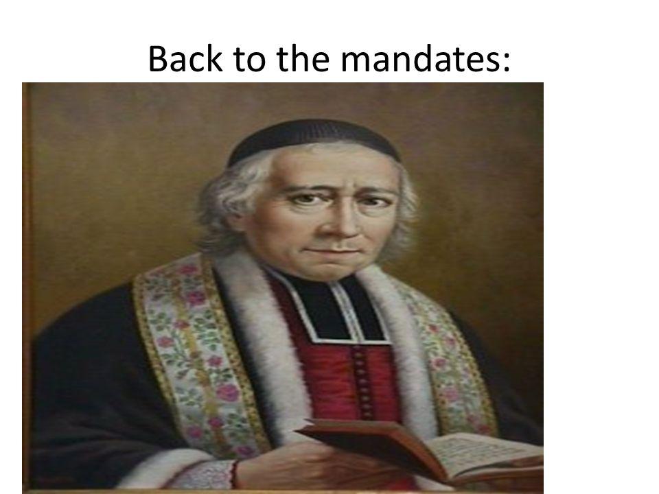 Back to the mandates: