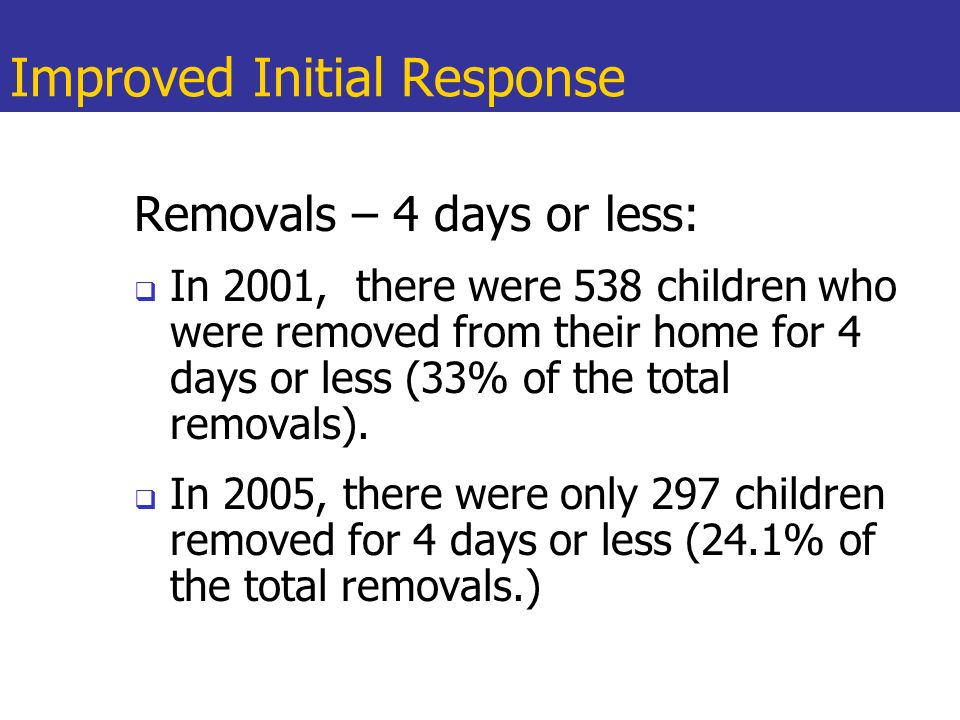 Improved Initial Response Removals – 4 days or less: In 2001, there were 538 children who were removed from their home for 4 days or less (33% of the