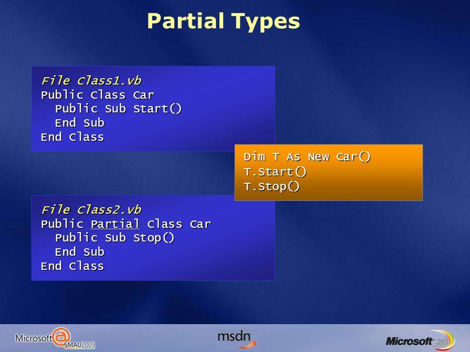 File Class1.vb Public Class Car Public Sub Start() Public Sub Start() End Sub End Sub End Class File Class2.vb Public Partial Class Car Public Sub Sto