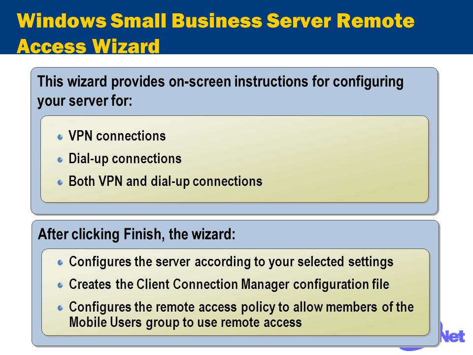 Windows Small Business Server Remote Access Wizard This wizard provides on-screen instructions for configuring your server for: VPN connections Dial-u