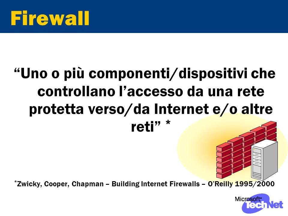 Firewall Uno o più componenti/dispositivi che controllano laccesso da una rete protetta verso/da Internet e/o altre reti * * Zwicky, Cooper, Chapman – Building Internet Firewalls – OReilly 1995/2000