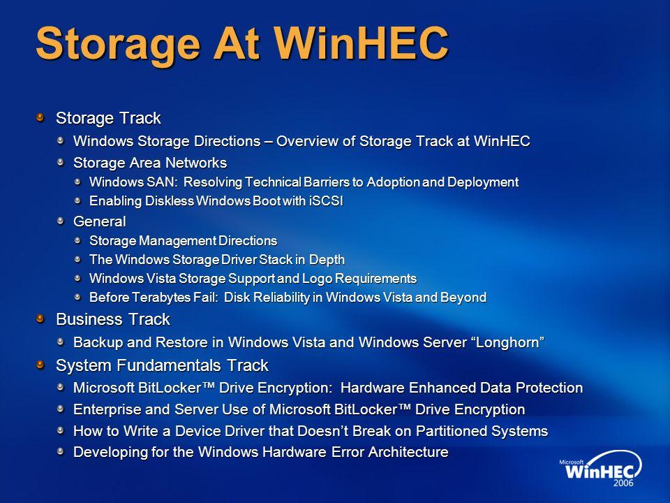 Storage At WinHEC Storage Track Windows Storage Directions – Overview of Storage Track at WinHEC Storage Area Networks Windows SAN: Resolving Technica