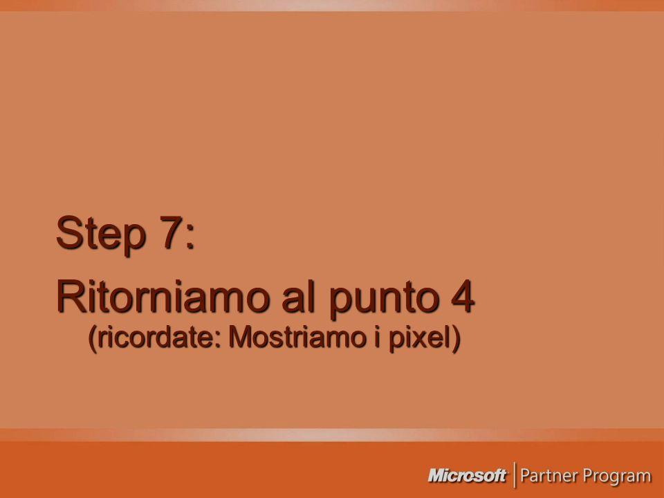 Step 7: Ritorniamo al punto 4 (ricordate: Mostriamo i pixel)