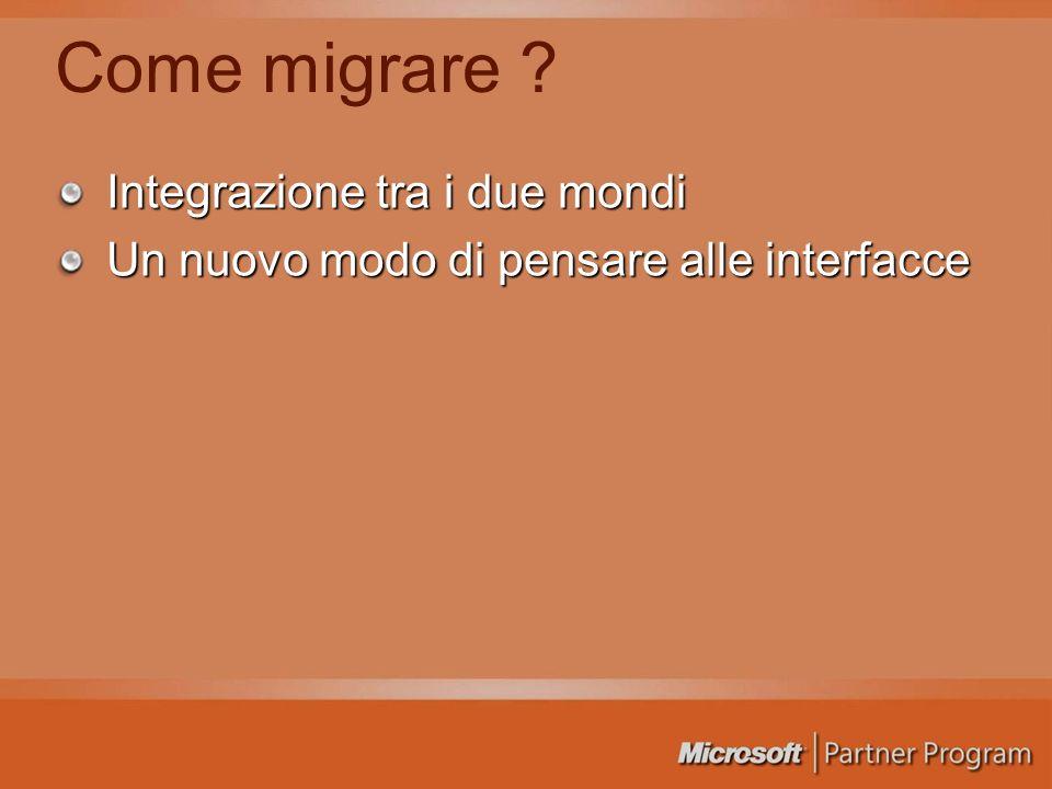 Come migrare ? Integrazione tra i due mondi Un nuovo modo di pensare alle interfacce