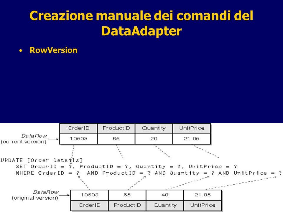 13 / 31 Creazione manuale dei comandi del DataAdapter RowVersion