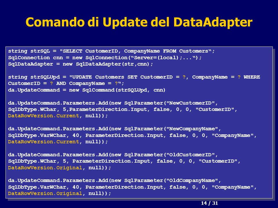 14 / 31 Comando di Update del DataAdapter string strSQL = SELECT CustomerID, CompanyName FROM Customers; SqlConnection cnn = new SqlConnection(Server=(local);...); SqlDataAdapter = new SqlDataAdapter(str,cnn); string strSQLUpd = UPDATE Customers SET CustomerID = , CompanyName = .