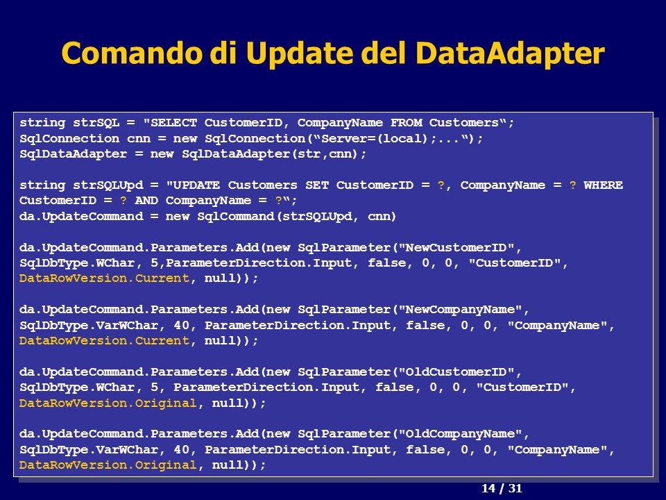 14 / 31 Comando di Update del DataAdapter string strSQL =