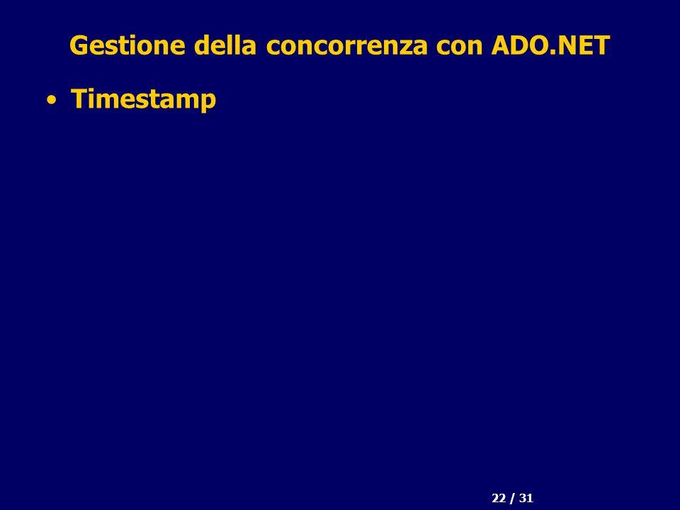 22 / 31 Gestione della concorrenza con ADO.NET Timestamp
